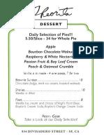 Theorita Dessert Menu