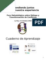 Cuaderno de Aprendizaje Foro metodológico de Diálogo y Conflicto