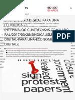 Sindicalismo digital para una economía 20 - Cuatrecasas 2017