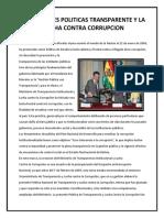 Relacciones Politicas Transparente y La Lucha Contra Corrupcion