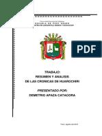Resumen y Analisis de Las Cronicas de Huarochiri