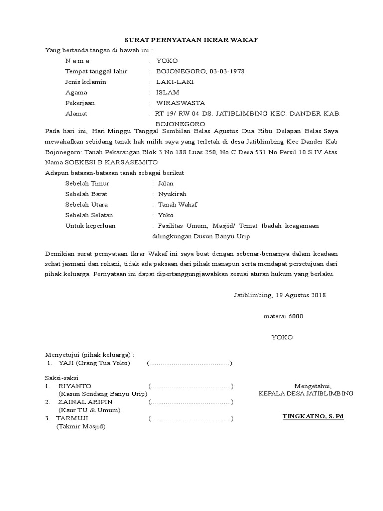 29++ Contoh surat pernyataan wakaf terbaru terbaru