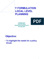Policy Formulation on Local Level Planning [Compatibility m