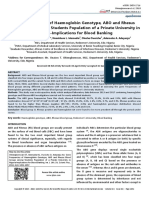 Gene Frequencies of Haemoglobin Genotype, ABO and Rhesus Blood Groups among Students Population of a Private University in Nigeria-Implications for Blood Banking