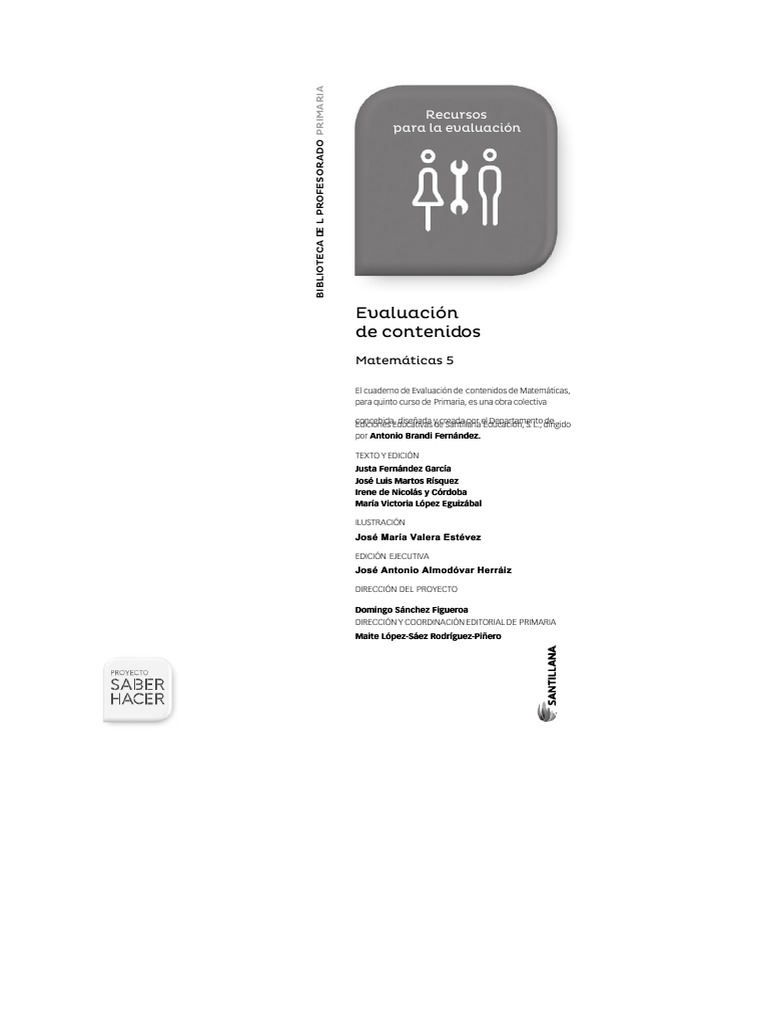 Documentslide Org 5 Matemáticas Saber Hacer Evaluación De Contenidos 2014