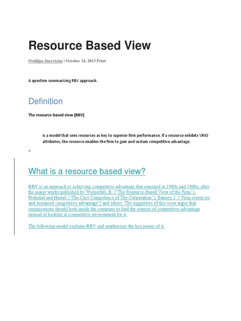resources based view of the firm