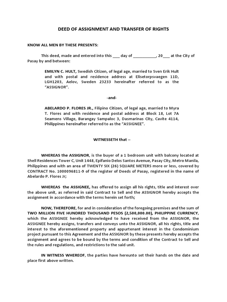 deed of assignment philippines