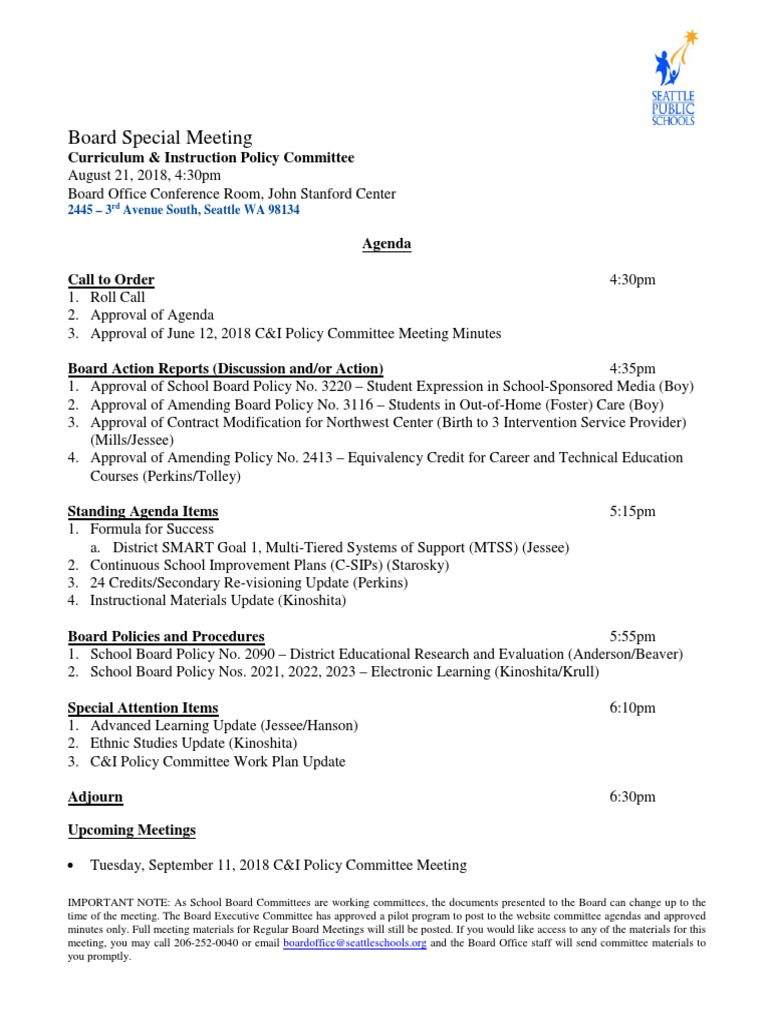 Lawton Public Schools Calendar 2022 2023.Seattle School Board Curriculum Policy Committee Meeting Packet August 21 2018 Child Protective Services Policy