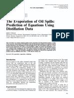 Evaporation Oil Spill Predictions