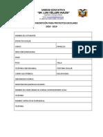 Ficha de Inscripción proyectos escolares