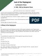 An Enochian Ritual of the Heptagram by Benjamin Rowe