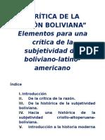 Bautista Segales, Juan Jose - Critica de La Razon Boliviana