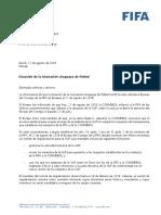 Carta de la FIFA a la Asociación Uruguaya de Fútbol 21 de agosto de 2018