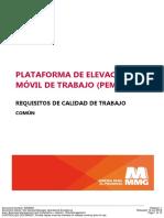 7. Trabajos en Altura - Plataforma de Elevación Móvil de Trabajo - Requisitos de Calidad de Trabajo (Común) - 8308269
