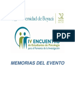 Memorias IV Encuentro Estudiantes Psicologia