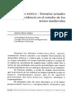 Corrientes teórico-literarias actuales y su incidencia en el estudio de los textos medievales