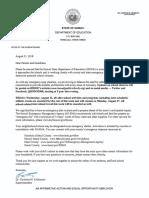 Hurricane Lane letter from DOE