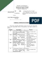 Formal Offer Prosecution
