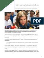 20-08-2018 Claudia Pavlovich reitera que respeta la autonomía de los municipios- Tribuna