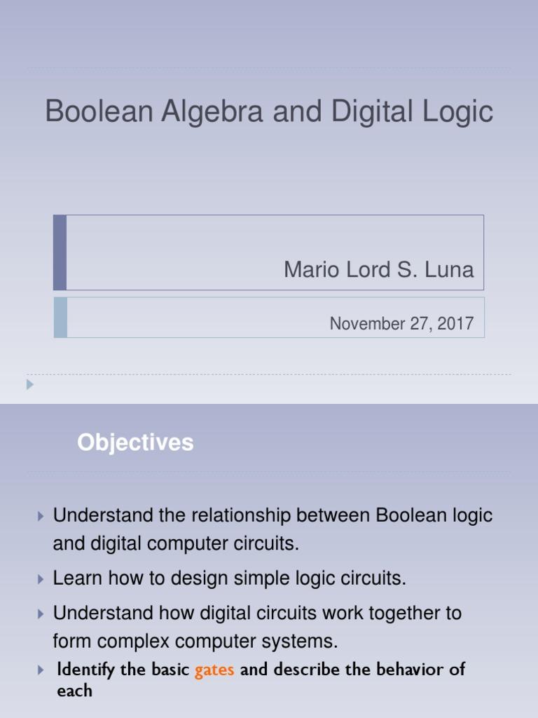 Bulean Algebra Logic Gate Boolean Digital Circuit And Design