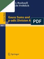 1983 Book GaussSumsAndP-AdicDivisionAlge