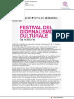 Dal 25 ottobre la VI edizione del Festival del Giornalismo Culturale - Viverepesaro.it, 21 agosto 2018