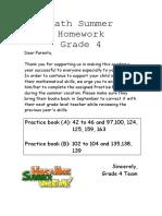 Math Summer Homework- Grade 4