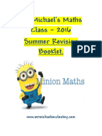 Summer Maths Revision Booklet 2016 Year 3