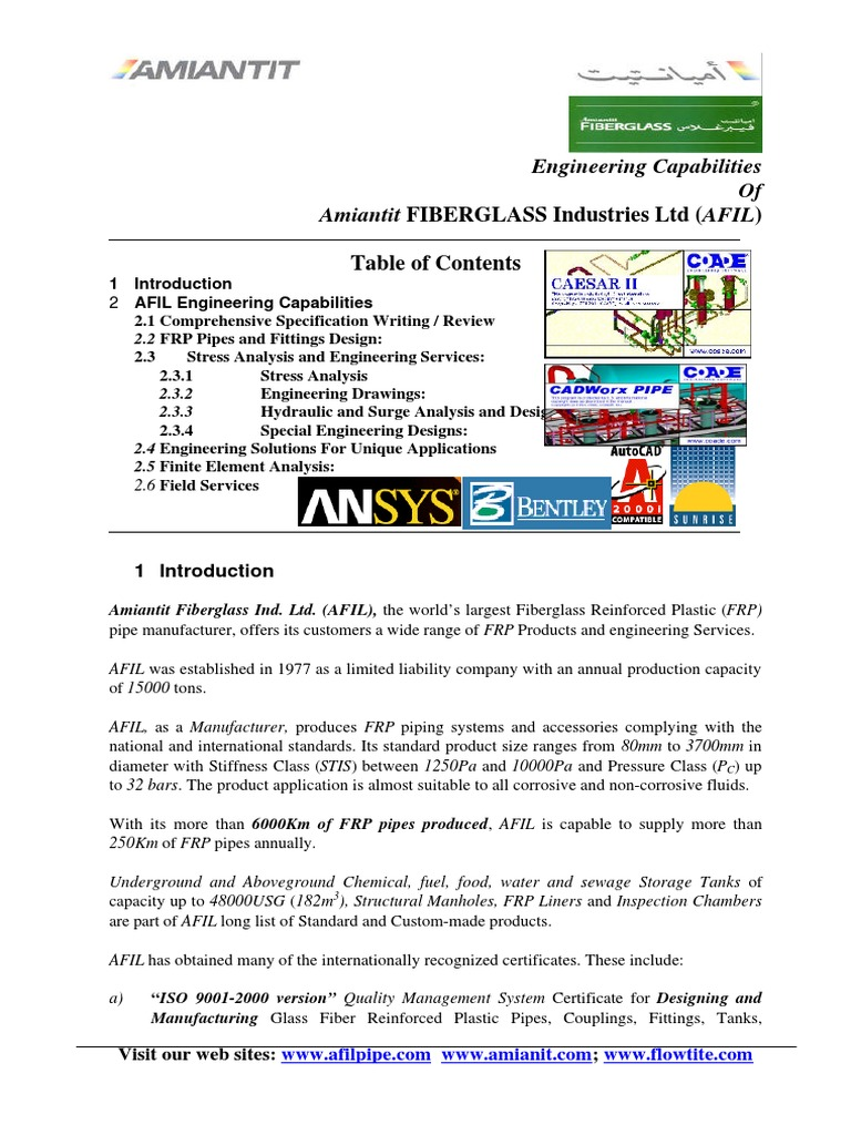 AFIL Eng Capability_Revised   Pipe (Fluid Conveyance