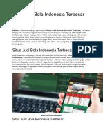 Situs Judi Bola Indonesia Terbesar