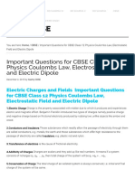 Important Questions for CBSE Class 12 Physics Coulombs Law, Electrostatic Field and Electric Dipole.pdf