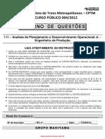 Analista de Planejamento e Desenvolvimento Operacional Jr Engenheiro de Producao