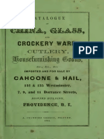 1861. Cahoone &Hail. Catalogue of China, Glass, And Crockery Ware, Cutlery, Housefurnishing Goods