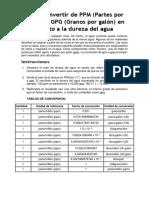 Conversión de ppm a gpg.