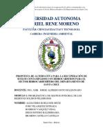 Propuesta de Alternativa Para La Recuperación de Suelos Contaminados Con Hidrocarburos Para El Sector Hidrocarburífero Del Departamento de Santa Cruz