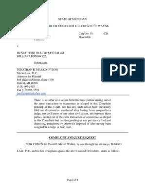 Henry Ford Health System Racist Comments Complaint | Complaint | Lawsuit