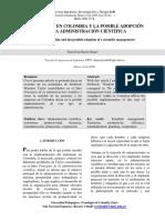 LA REALIDAD EN COLOMBIA Y LA POSIBLE ADOPCIÓN DE UNA ADMINISTRACIÓN CIENTÍFICA