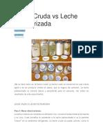 Leche Cruda vs Leche Pasteurizada