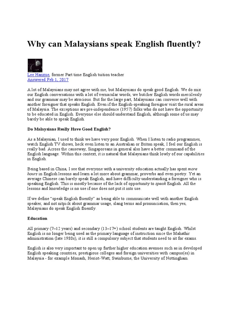 usage of english language in malaysia