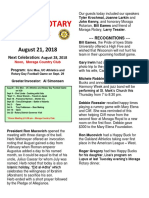 Rotary Newsletter for Aug 21 2018