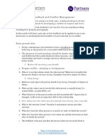 A Checklist on Feedback and Conflict Management