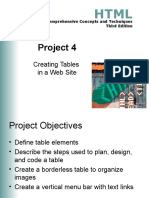 Project 04 Creating Tables in a Web Site