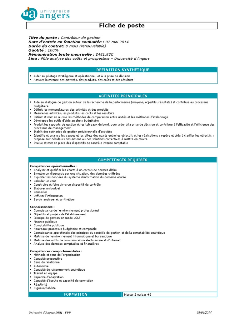 Fiche De Poste Contrôleur De Gestion 2 Pdf Accounting