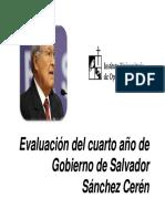 evaluación cuarto año de gobierno Sánchez Cerén