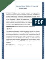 Proyecto de Motivacion y Liderazgo Aztkagro s.a.