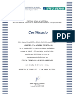 Certificado de Curso do SENAI - Etica, Cidadania e Meio Ambiente- Frente