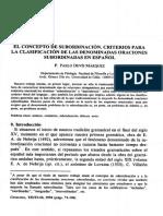 Devis Márquez_El Concepto de Subordinación. Criterios Para La Clasificación de Las Denominadas Oraciones Subordinadas en Español