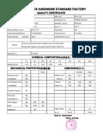 Certificado de Calidad de -BARRA ROSCADA ZINC 3.4