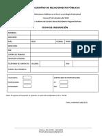 Modelo de ficha de inscripción para un evento