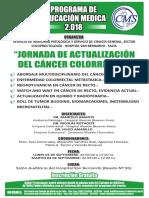 Afiche Jornada de Actualizacion Del Cancer Colorrectal 03 y 04 de Septiembre Hospital San Bernardo
